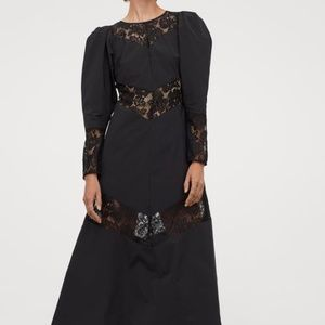 H&M Conscious Long Black Dress Taffeta & Lace L